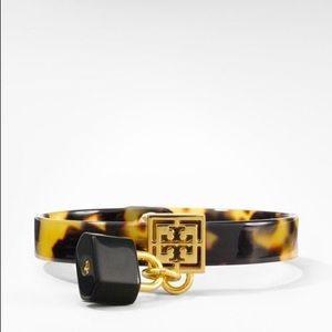 NIB Tory Burch Golden Logo Resin Bracelet